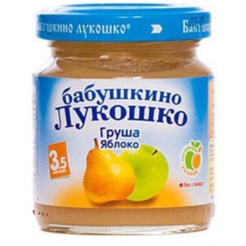 Детское пюре Бабушкино Лукошко груша и яблоко с 35 мес. 100 г