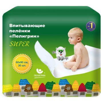 Пеленки впитывающие детские Пелигрин Super (большая упаковка) 60х90 30 шт