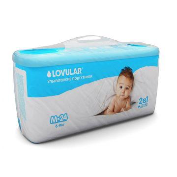 Трусики Lovular 2 в 1 M (6-9 кг) 24 шт