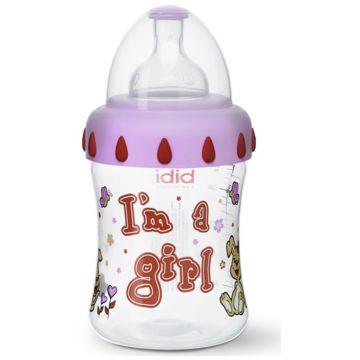 Бутылочка Bibi Girl  с широким горлышком + соска  and регулируемый поток and  с 1 мес. 250 мл
