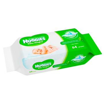Салфетки детские влажные Huggies Ultra Comfort + Aloe 64 шт