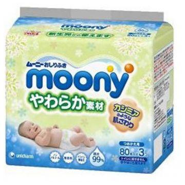 Влажные мягкие салфетки для детей Moony запасной блок 80х3 шт