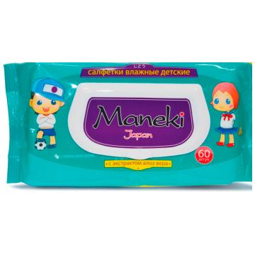 Влажные салфетки для детей Maneki серия Kaiteki с экстрактом АЛОЭ ВЕРА (60 шт)
