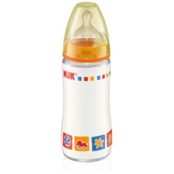 Бутылочка Nuk First Choice стеклянная, 240 мл разноцветная + соска с вентиляцией из силикона, р1. для молока с рождения