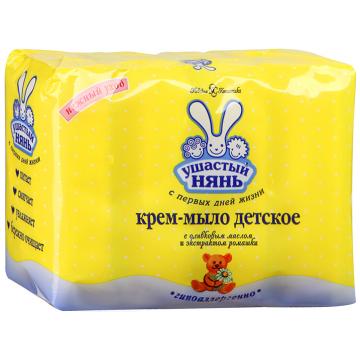 Крем мыло детское Ушастый нянь с оливковым маслом и экстрактом ромашки 4 шт х 100 г