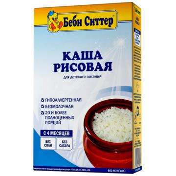 Каша Детская каша Беби Ситтер рисовая безмолочная с 4 мес. 200 г