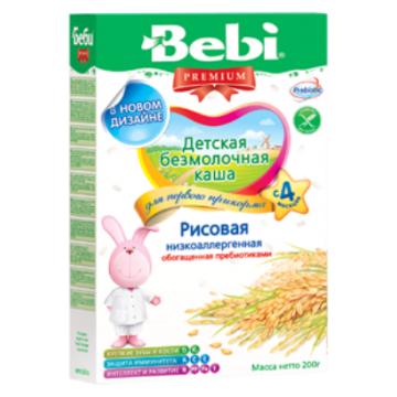 Каша Bebi рисовая низкоаллергенная безмолочная с пребиотиками Премиум с 4 мес. 200 г