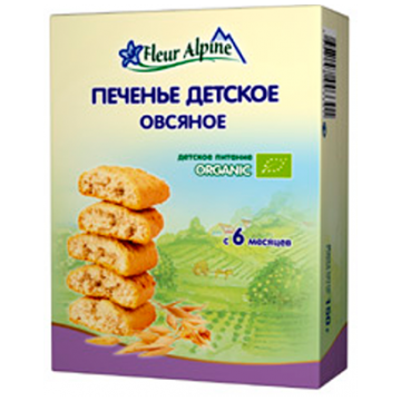 Печенье детское Fleur Alpine Organic Овсяное с 6 мес 150 г