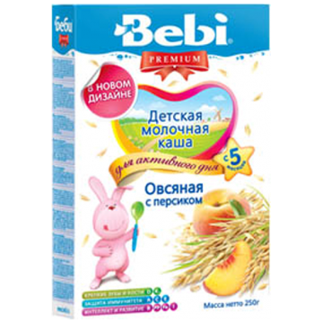 Каша Bebi овсяная с персиком молочная Премиум с 5 мес. 250 г
