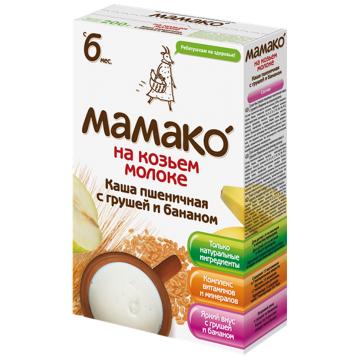 Каша Детская каша Мамако пшеничная с грушей и бананом на козьем молоке от 6 мес. 200 г
