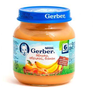 Детское пюре Gerber яблоко абрикос банан с 6 мес. 130 г