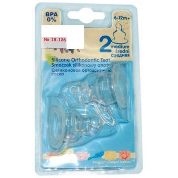 Соска Canpol Babies силиконовая ортодонтическая 2 шт. №2 средний поток с 6 мес.