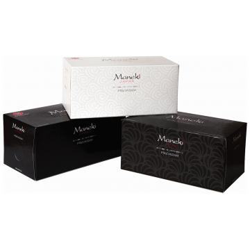 Салфетки Maneki бумажные серия Black and White с ароматом иланг-иланг 2 слоя белые 224 шт. в упаковке