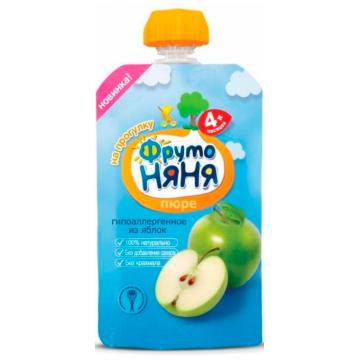 Детское пюре Фрутоняня яблоко натуральное с 4 мес. 90 г