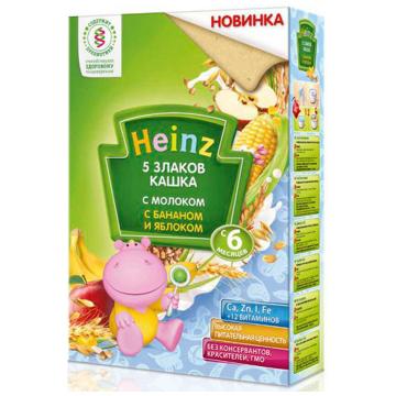 Каша Heinz 5 злаков с молоком с бананом и яблоком 3 ступень 250 г