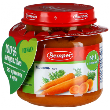 Детское пюре Semper морковь  с 4 мес. 125 г