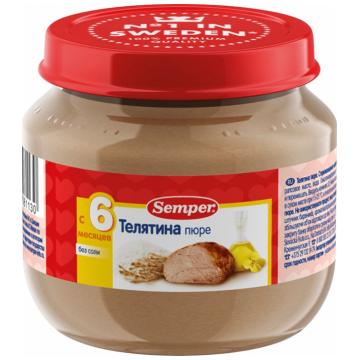 Детское пюре Semper телятина с 6 мес. 90 г