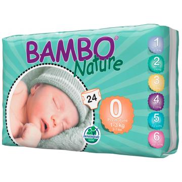 Подгузники Bambo Nature Premature размер 0 (1-3 кг) 24 шт