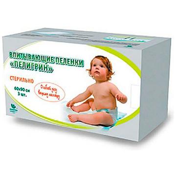 Пеленки впитывающие детские Пелигрин стерильные 60х90 см 3 шт.