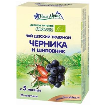 Чай детский Fleur Alpine травяной Organic черника и шиповник с 5 мес. 30 г
