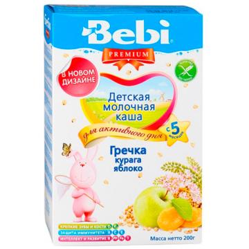 Каша Bebi Premium Гречневая молочная с курагой и яблоком с 5 мес. 200 г