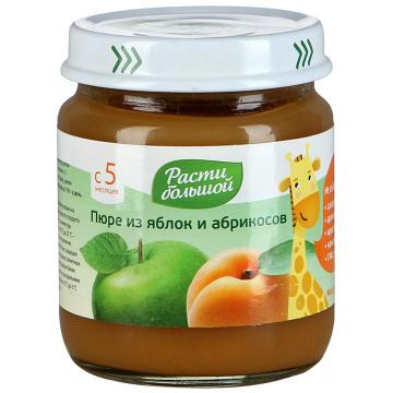 Детское пюре Расти Большой Яблоко абрикос с 5 мес. 100 г
