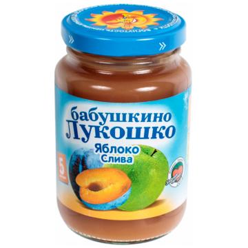 Детское пюре Бабушкино Лукошко Яблоко слива с сахаром с 5 мес. 200 г