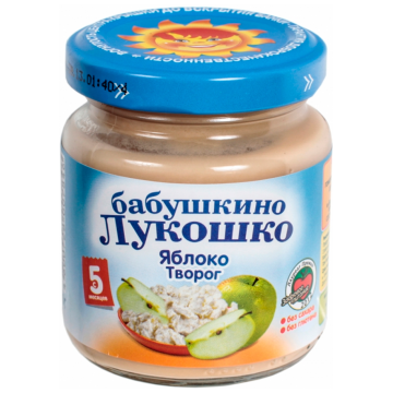 Детское пюре Бабушкино Лукошко Яблоко творог с 5 мес. 100 г