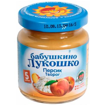 Детское пюре Бабушкино Лукошко Персик творог с 5 мес. 100 г