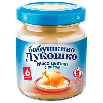 Детское пюре Бабушкино Лукошко Мясо цыплят с рисом с 6 мес. 100 г