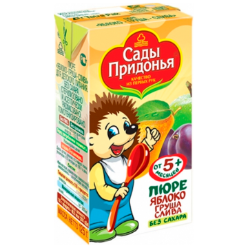 Детское пюре Сады придонья Яблоко груша слива с 5 мес. 125 г