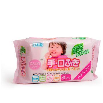 Салфетки детские влажные iPlus для рук и лица с экстрактом зеленого чая 80 шт мягкая упаковка
