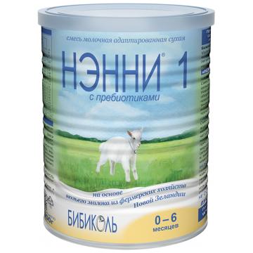 Молочная смесь Нэнни 1 с пребиотиками на основе козьего молока с рождения до 6 мес 400 г