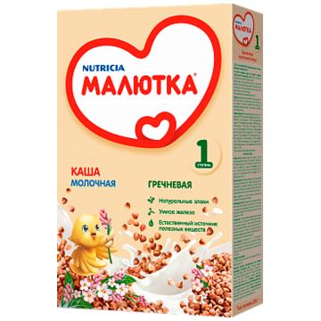 Каша Малютка, Nutricia Малютка гречка молочная с 4 месяцев 220 г