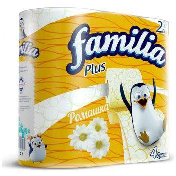 Туалетная бумага Familia Plus белая с ароматом ромашки и рисунком 4 шт.