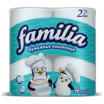 Бумажные полотенца Familia белые двухслойные 4 шт