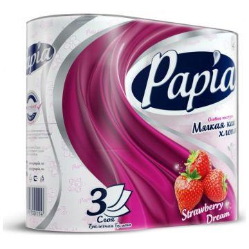 Туалетная бумага Papia Strawberry Dream белая с рисунком 4 рулона