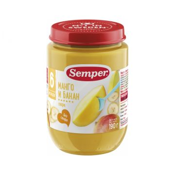 Детское пюре Semper манго и банан   с 6 мес. 190 г