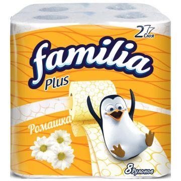 Туалетная бумага Familia Plus белая с ароматом ромашки и рисунком 8 шт
