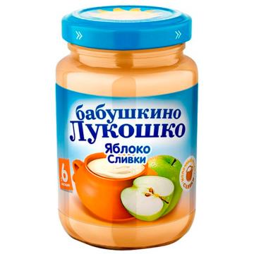 Детское пюре Бабушкино Лукошко Неженка яблоко со сливками с 6 мес. 200 г
