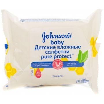 Влажные салфетки для детей Johnson  and  Johnson Baby Pure Protect 25 шт