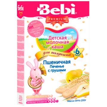 Каша Bebi Премиум молочная пшеничная для полдника Печенье с грушами с 6 мес. 200 г