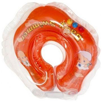 Надувной круг на шею для купания новорожденных BabySwimmer ОРАНЖЕВЫЙ