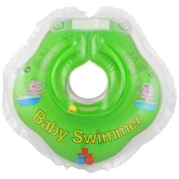Надувной круг на шею для купания новорожденных BabySwimmer САЛАТОВЫЙ