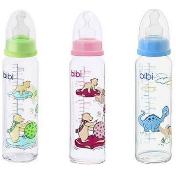 Бутылочка для кормления Bibi стеклянная с ортодонтической соской силикон с 1 мес. 240 мл