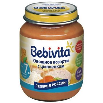 Детское пюре Bebivita Овощное ассорти с цыпленком с 7 мес. 100 г