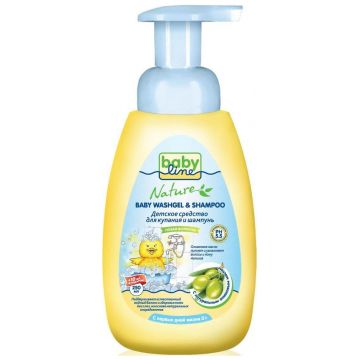 Средство для купания и шампунь для детей Babyline Nature с маслом оливы, дозатор 260 мл