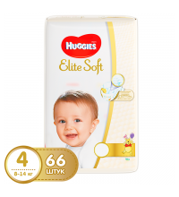 Подгузник Huggies Elite Soft 4 (8-14 кг) мега 66 шт