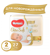 Подгузники Huggies Elite Soft 2 (3-6 кг) 27 шт