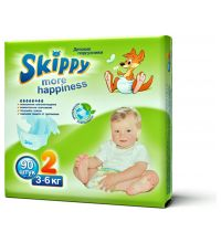 Подгузники Skippy More Happiness размер S (3-6 кг) 90 шт